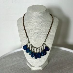 Jewelry - Blue Stone Braided Brown Leather Necklace